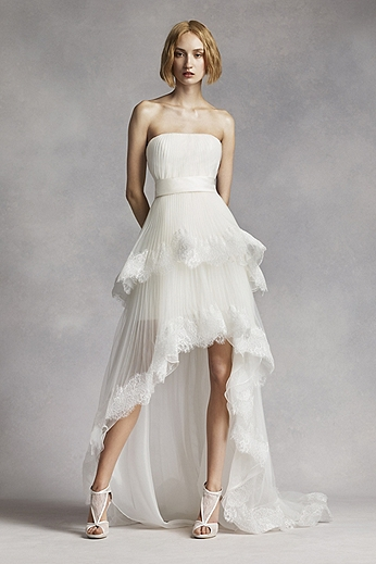Two Tier High Low Aline Gown with Tulle and Lace VW351281