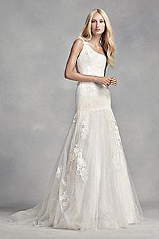 White by Vera Wang One Shoulder Lace Wedding Dress VW351287