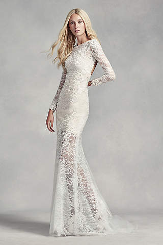 Long sleeve lace wedding dresses davids bridal long sheath modern chic wedding dress white by vera wang junglespirit Gallery