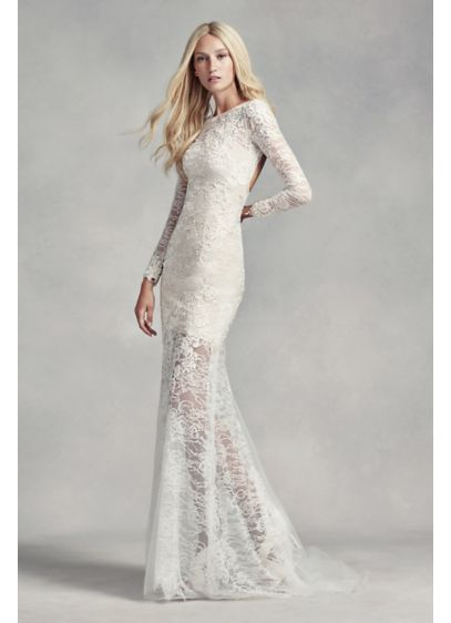 White by vera wang lace and beads wedding dress davids bridal long sheath modern chic wedding dress white by vera wang junglespirit Image collections