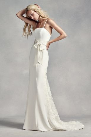 White By Vera Wang Spaghetti Strap Wedding Dress Davids Bridal - Spaghetti Strap Wedding Dresses