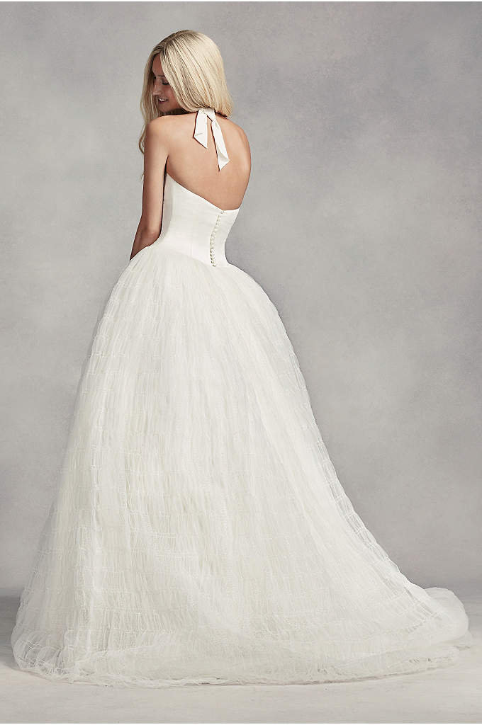Tulle plus size wedding dress with illusion bodice for Vera wang tea length wedding dress
