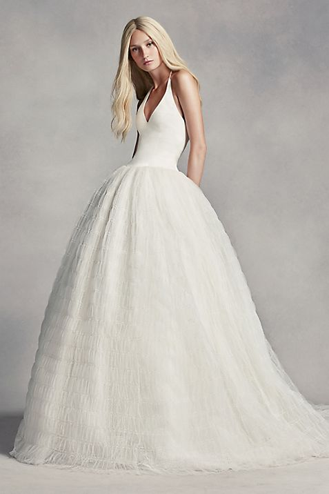 White by Vera Wang Halter Tulle Wedding Dress | David\'s Bridal