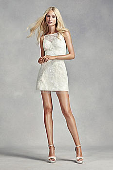 White by Vera Wang Short Lace Wedding Dress VW351306