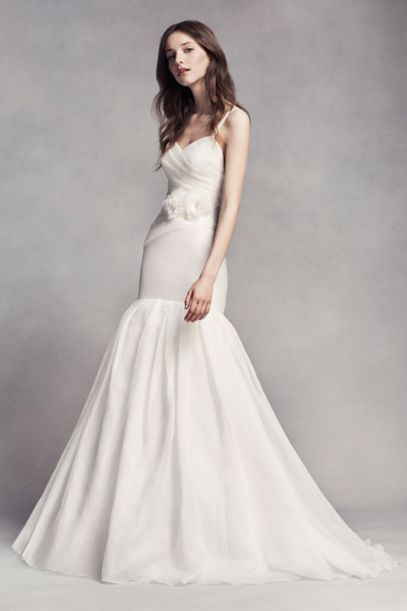 White by Vera Wang Organza Trumpet Wedding Dress | David's Bridal