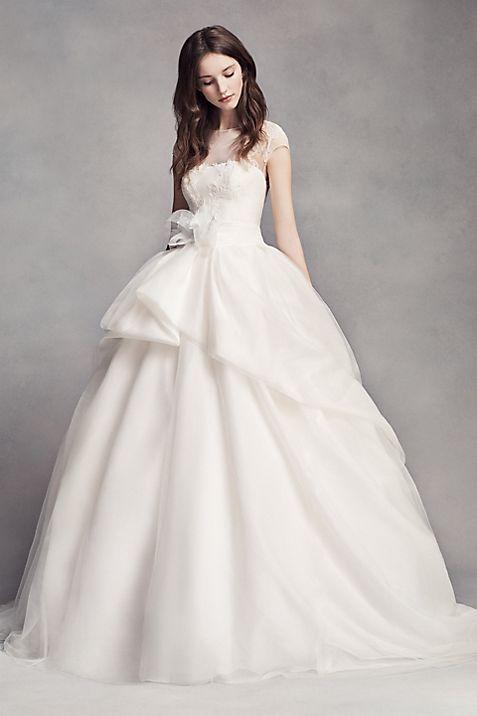 White by vera wang lace illusion wedding dress davids bridal mouse over to zoom junglespirit Choice Image