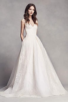 Classic A-Line, V-Neck Lace & Organza Open Back Wedding Dress