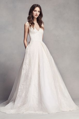White by Vera Wang Pleated V-Neck Wedding Dress | David's Bridal