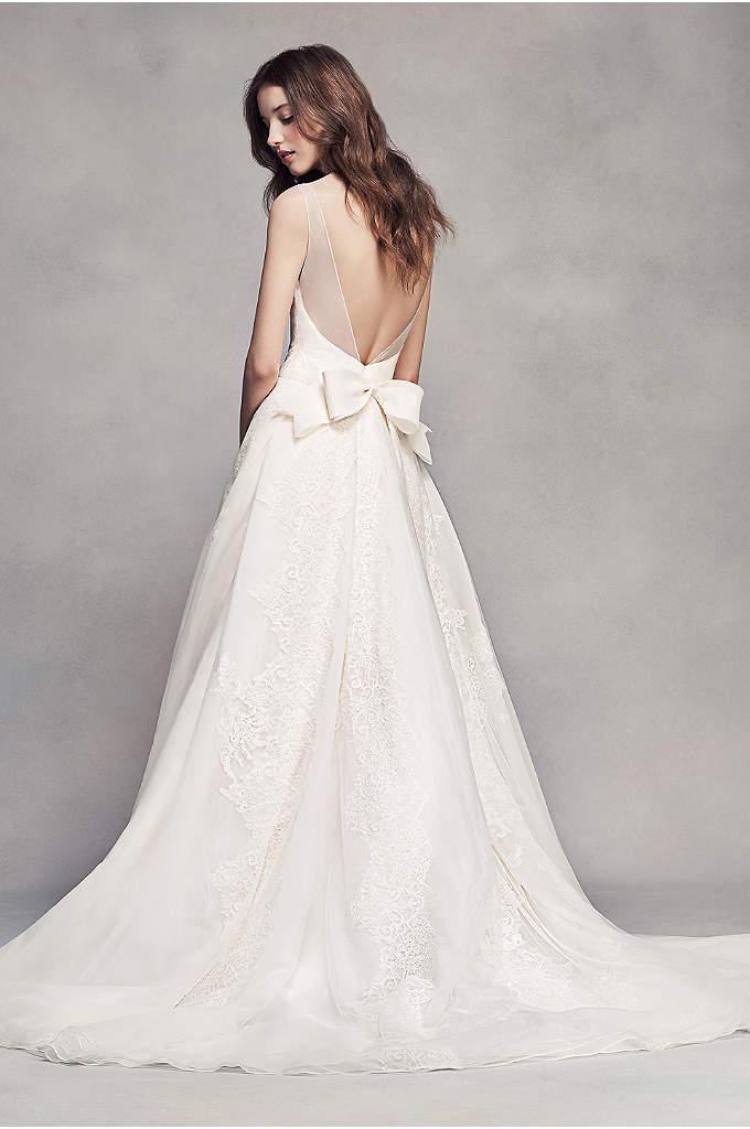 Allover lace v neck plus size sheath wedding dress for Vera wang v neck wedding dress