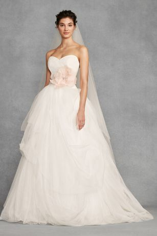 White by Vera Wang Hand-Draped Tulle Wedding Dress | David's Bridal