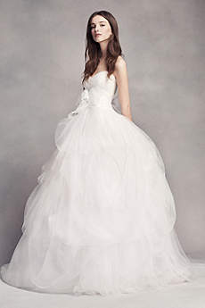 long ballgown formal wedding dress white by vera wang