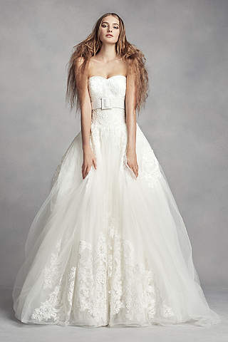 White By Vera Wang Lace Ball Gown Wedding Dress
