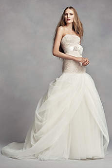 product white vera wang short sleeve lace wedding dress