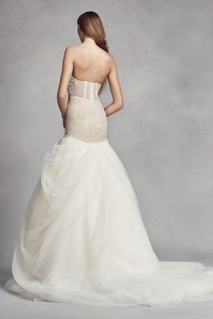 White by vera wang lace trumpet wedding dress david 39 s bridal for Vera wang trumpet wedding dresses