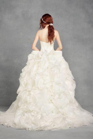 white  vera wang tiered organza wedding dress davids bridal