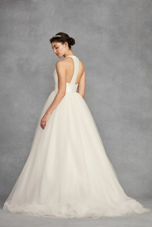 White By Vera Wang Bow Back Halter Wedding Dress David S