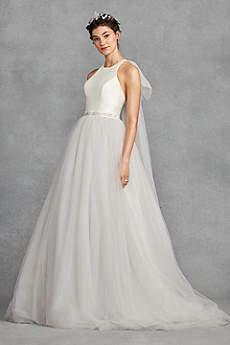 Long Ballgown Halter Dress - White by Vera Wang
