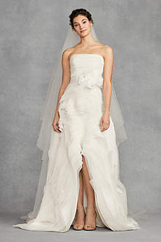 High Low A-Line Strapless Dress - White by Vera Wang