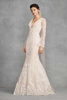 Long Mermaid/ Trumpet Long Sleeves Dress - White by Vera Wang