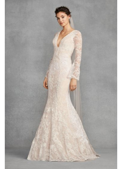 White by Vera Wang Bell Sleeve Lace Wedding Dress | David\'s Bridal