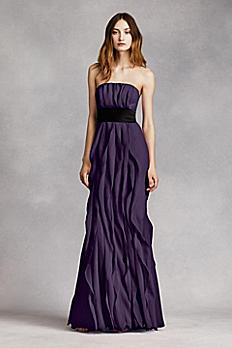 Strapless Crinkle Chiffon Dress with Mikado Sash VW360102