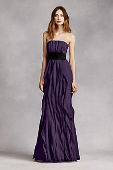 Strapless Crinkle Chiffon Dress with Mikado Sash