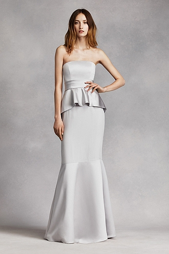 Satin and Matte Crepe Peplum Dress with Satin Sash VW360134