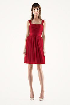 Short Bobbin Net Dress with Full Skirt VW360163