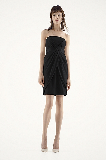 Short Strapless Crepe Dress with Satin Belt VW360166