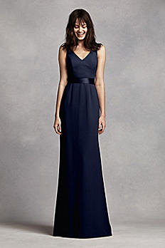 Long V Neck Crepe Gown with Open Back VW360195