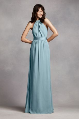 Long Crinkle Chiffon Halter Dress - Davids Bridal
