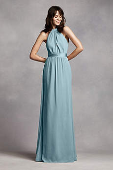 Long Crinkle Chiffon Halter Dress