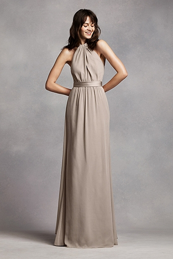 Long Crinkle Chiffon Halter Dress VW360197