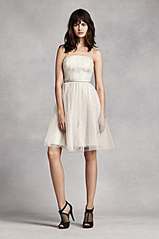 Short Strapless Tulle over Lace Dress VW360205