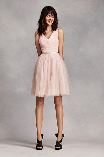 Sleeveless Tulle over Lace Dress VW360206