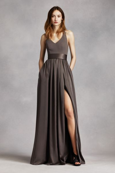 v Neck Halter Gown With Sash