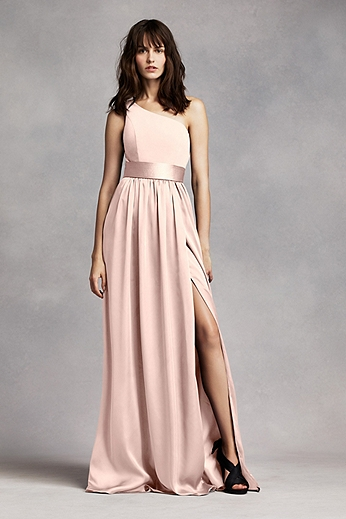 One Shoulder Dress with Satin Sash VW360215