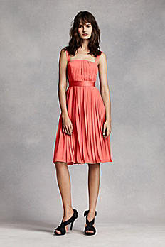Short Pleated Crinkle Chiffon Dress VW360222