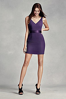 Short V-Neck Dress with Satin Sash VW360228