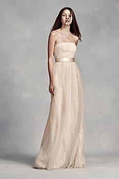 Long Lace Dress with Tulle Overlay and Satin Sash VW360246