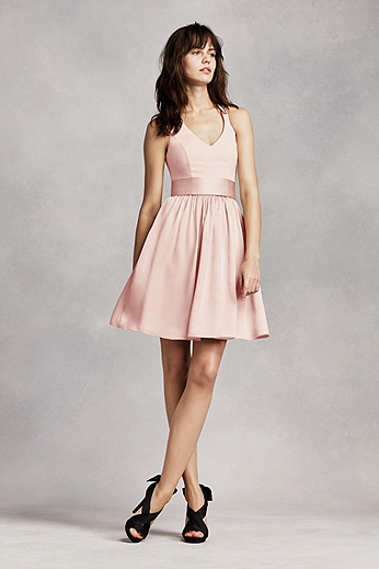 Short Halter V-Neck Dress with Sash VW360261