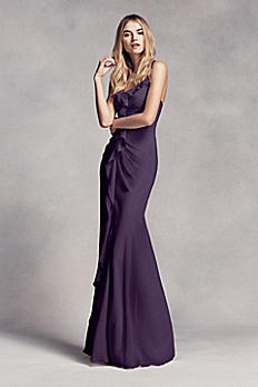 Long Ruched Bridesmaid Dress with Ruffles VW360275