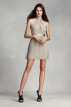 Short Halter Chiffon Dress with Satin Sash VW360301