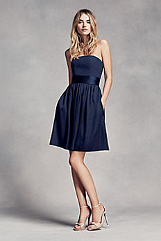 Short Strapless Bridesmaid Dress with Belt VW360306