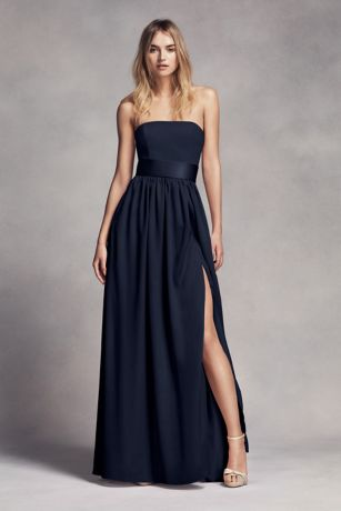 Long strapless bridesmaid dress with belt davids bridal for What to wear under strapless wedding dress