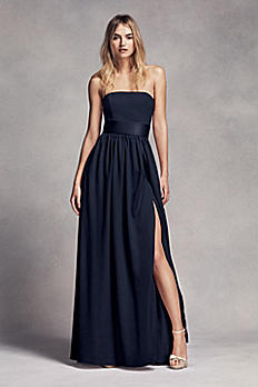 Long Strapless Bridesmaid Dress with Belt VW360307