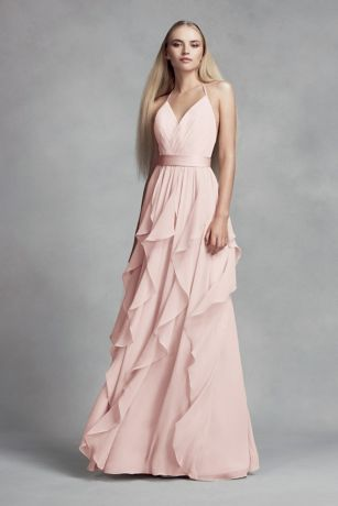 Chiffon Bridesmaid Dress With Cascading Skirt Davids Bridal