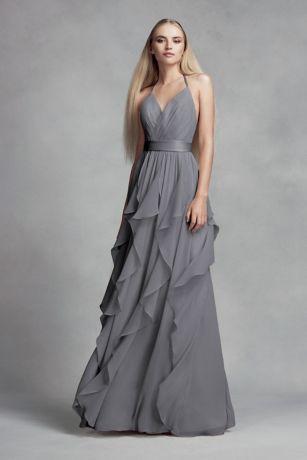 chiffon dress  cascading ruffled skirt davids bridal