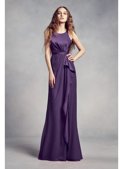 Charmeuse and Chiffon Bridesmaid Dress with Ruffle | David\'s Bridal