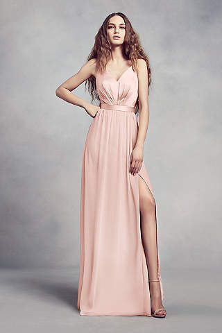 pink chiffon dress shoulder straps